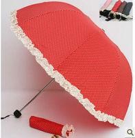 Y10 Cheap colorful 3 folding umbrella princess Free shipping uv umbrellas rain wholesale clear umbrella lace
