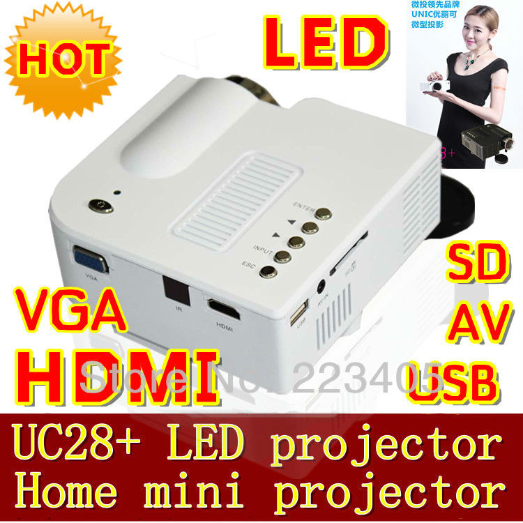 Uc28+ hd projector mini projector mini home cause the phone to your computer's USB flash drive. HDMI VGA AV SD input(China (Mainland))