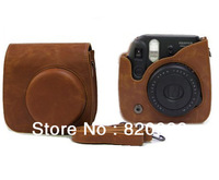 New Fujifilm Instax Mini 8 Camera Leather Case Bag Brown with Shoulder Strap