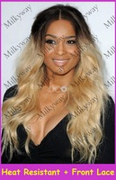 Free shipping kim kardashian #4/#27HRM#613 black blonde medium brown mix color synthetic lace front wig heat resistant