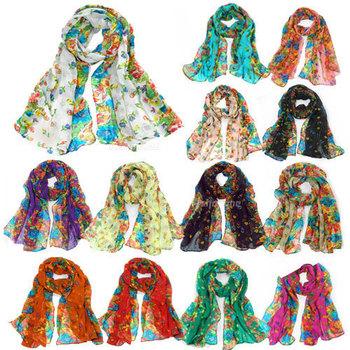 2015 Fashion Elegant Women Ladies Floral Flower Scarf Shawl Stole Wrap all-match shawls silk copper Women female Free Shipping