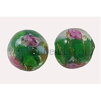 Handmade Gold Sand Lampwork Beads,  with Flower Inlaid,  Round,  Green,  Size: about10mm in diameter,  hole: 1.5~2mm