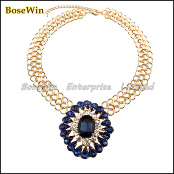 Hot Sell Fashion Gold Plated Chunky Chain Blue Crystal Flower Rhinestones Pendants Necklaces For Women Statement Jewelry CE857