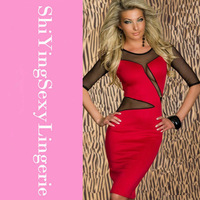 Decolletage Dress with Mesh Red LC2755  2013 New Women Clothes Sexy Transparent Long Dresses