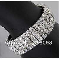 4 Row stretch Rhinestone Bracelet,  Brass,  Silver Color,   about 15mm wide,  5cm inner diameter