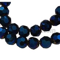 Glass Beads Strands,  Faceted Round,  MidnightBlue,  AB Color,  about 4mm in diameter,  4mm thick,  hole: 0.5