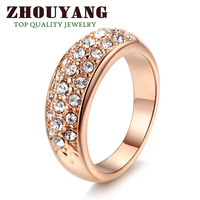 ZYR061 Hot Sell Elegant 18K Rose Gold Plated  Wedding Ring Made with Genuine Austrian Crystals Full Sizes Wholesale