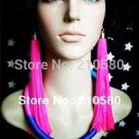 New Fashion Earrings Women's Jewelry Hip hop  Neon Tassel Long Drop Earring