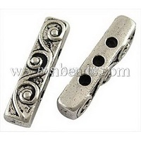 Tibetan Style Bar Spacers,  Lead Free and Cadmium Free & Nickel Free,  Rectangle,  Antique Silver Color,  about 18mm long