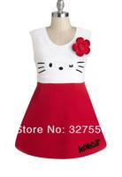 HOT ! dresses new fashion 2014 hello kitty girls dress O-neck girl's summer dresses 2 colors Free shipping GQ-220