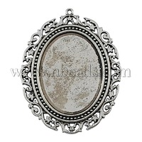 Stock Deals Tibetan Style Pendant Cabochon Settings,  DIY Findings for Jewelry Making,  Lead Free & Cadmium Free,  Oval