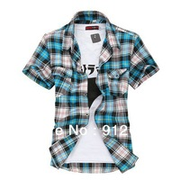 2013 summer korean style man's shirt short sleeve,squared plaid shirts men, caual slim fit shirts for men freeshipping , M-XXXL,