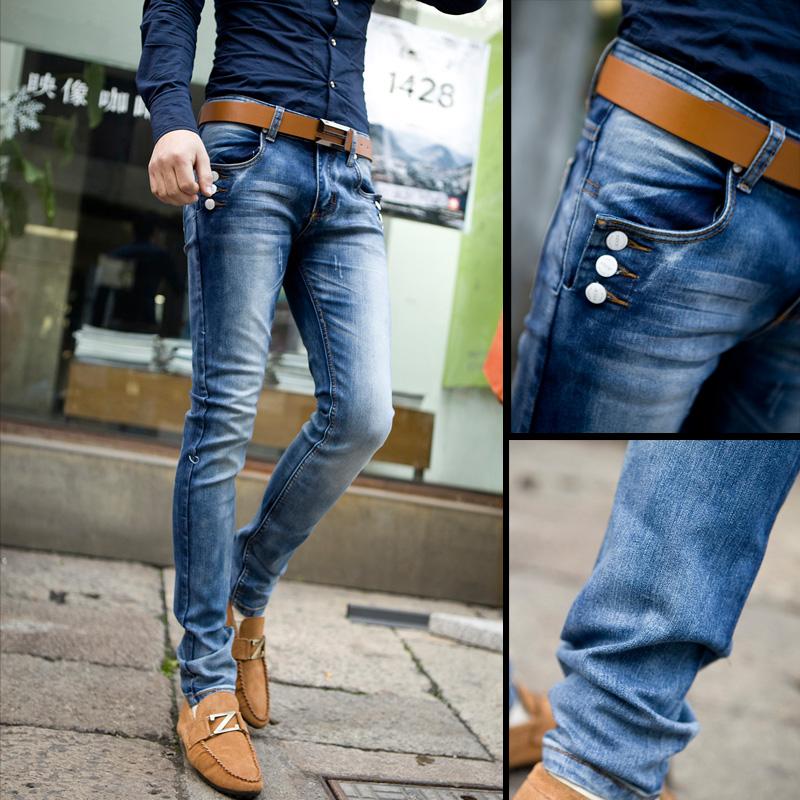 2014 printemps, corée new fashion jeans pour hommes, pantalon stretch serrées. piedsde lavé bleu casual pantalons en denim pour hommes