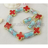 Fashion Jewelry Sets: Earrings and Bracelets,  with Column Lampwork Beads and Flower Acrylic Beads,  SkyBlue