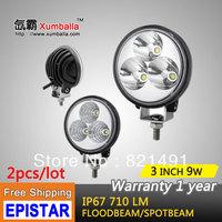 Free shipping 2pcs 3'' 9w mini LED work light pencel beam flood beam offroad headlight side light for truck ATV SUV car moto