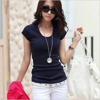 2014 summer solid fashion women's t-shirt double U design female short-sleeve slim basic t shirt t-shirts for women  WC0155