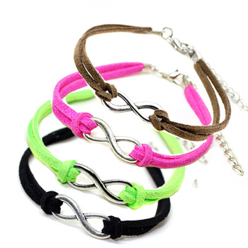 2014 New Items Hot Sale Fluorescent Neon Silver -Plated Infinity Bracelet Cheap Jewelry B2-198