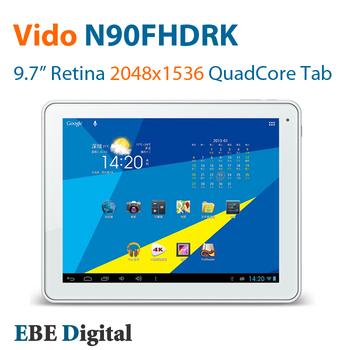 """Original 9.7"""" Vido N90FHDRK Quad Core Tablet PC RK3188 2GB RAM 16GB ROM Retina 2048x1536 Yuandao Bt Free Shipping SG Post"""