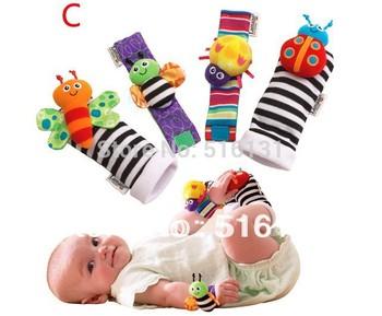 Free Shipping 4pcs /lot baby rattle educational Stuffed & Plush toys Garden Bug Wrist Rattle and Foot Socks