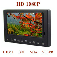 portable HD 1080p 7'' TFT LCD DSLR Monitor with VGA/AV/YPBPR/HDMI/SDI for 5D2 BMPC BMCC camera video Monitor