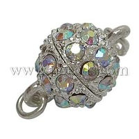 Alloy Magnetic Clasps,  with Rhinestone,  Round,  Platinum Color,  Size: about 8mm in diameter,  13mm long,  hole: 1mm