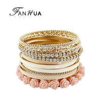 Bijouterie Resin Rose Flower Pink Enamel Rhinestone Gold Color Alloy Bracelets Bangles Sets For Women