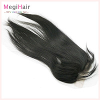 """8"""" to 20"""" Virgin Peruvian Hair Lace Closure bleached knots Silky Straight , 4*4 130% density DHL Free shipping Natural Color"""