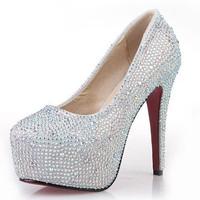 New Fashion 2013 Women's Silver Rhinestone Prom Pumps High Heel Crystal Brand Glitter Sparkly Platforms Silver Red Bottom 14cm