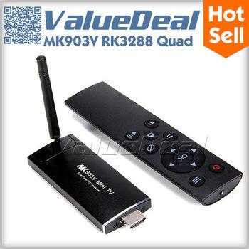 MK903V RK3288 Quad Core Android 4.4 Mini PC TV Box Dongle Stick 2G 8G Smart TV Receiver Media Player 2.4G/5G WIFI Bluetooth 4.0