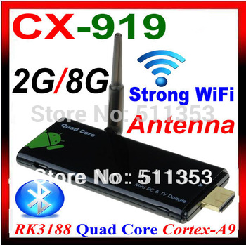 CX-919 Android 4.2.2 tv box Quad Core 2GB RAM / 8GB ROM RK3188 Cortex-A9 1.8GHz Wifi Bluetooth iptv android tv dongle CX-919