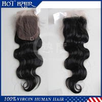 Top Closure 4''x4'' Bleached Knots Body Wave Brazilian Virgin Hair Hand Tied Free Parted Lace Closure