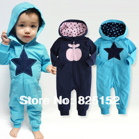 1PCS Apple & Star Baby Spring Autumn hooded romper Grow Long Sleeve Bodysuit Jumpsuit  Outwear Rompers