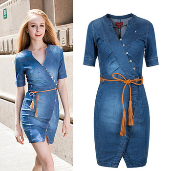 [TC ] new 2014 summer women casual dress vestidos plus size women clothing sexy jeans denim dresses S M L XL XXXL woman female