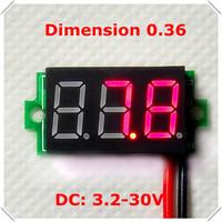 0.36 Digital Voltmeter new mini dc 3.2-30V two wires 3 digit Voltage Panel Meter led Display Color: Red[ 10 pieces / lot]