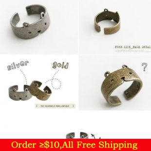 Korean Style Fashion Vintage Bronze/Silver Cute Cat Opening Finger Ring for Men Women Cheap Metal Animal Rings
