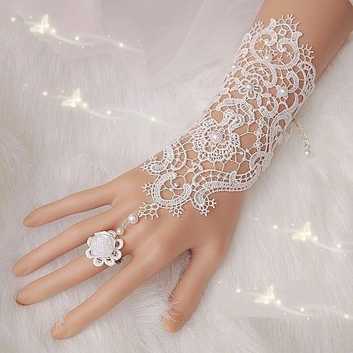 Livraison gratuite vente chaude de mode blanc, d'ivoire en dentelle de perles de mariage mariée gants de mariée, bague bracelet