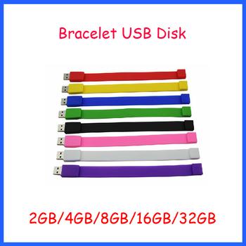 Wholesaler ! Free Shipping Rubber Bracelet USB Flash Drive 1GB 2GB 4GB 8GB 16GB 32GB + Logo printing