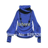 2013 Wholesale casual Women's Shirt Cotton New Fashion Lantern Sleeve Long Sleeve T-shirt  Tops 4 colors big size  7114