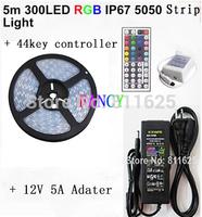 IP67 silicon tube waterproof 5M 300led 12V RGB led Strip 5050 SMD 60led/m Flexible + 44key Remote + 12V Transformer Freeshipping
