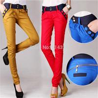 New Retro Vintage Women Pants 2015 Spring Autumn Fashion Two Zippers Slim Fit Casual Harem Pants , Women Trousers