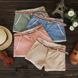 Send strap 2014 sweet pearl lace decoration all-match single-shorts shorts female Free shipping HXL1210LQ