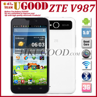 "Freeshipping ZTE V987 MT6589 Quad Core Mobile Phone 1G +4G ROM Android 4.1 OS 5.0"" IPS HD Screen 8.0MP Multi Languages Russian"