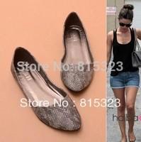 Free Shipping New 2015 fashion pointed toe snakeskin women flats shoes, brand summer women's flats shoes, flats women shoes