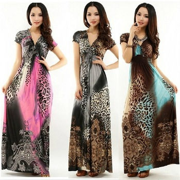 2013On Sale Sexy Women Bohemia Short Sleeve Mopping Floor Leopard Printed Maxi Long Beach Dress Free Shipping Plus Size Cristmas