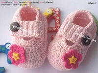 Hot Sales Hand Made Crochet Baby Shoes  for babies,pink crochet flower 0-3Mths(9cm) 3-6Mths(10cm) 6-9Mths(11cm) 9-12Mths(12cm)