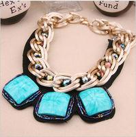 Fashion vintage square gem neckless multicolor big gem necklace