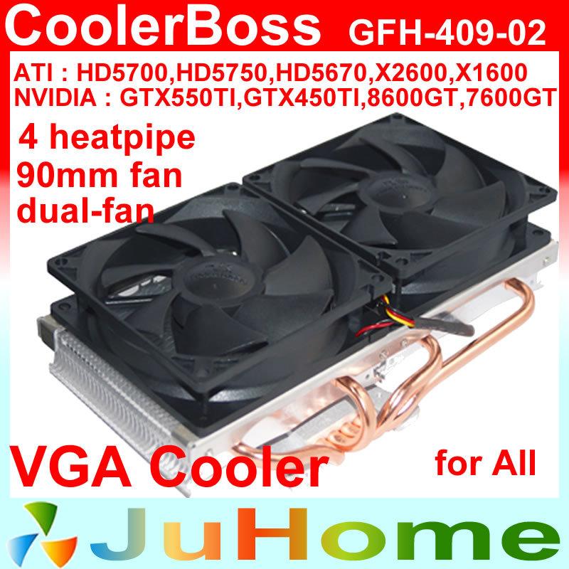 VGA Cooler, dual 90mm fan, 4 heatpipe, nVIDIA / ATI graphics card cooler GPU fan, VGA radiator, CoolerBoss GFH-409-02(China (Mainland))