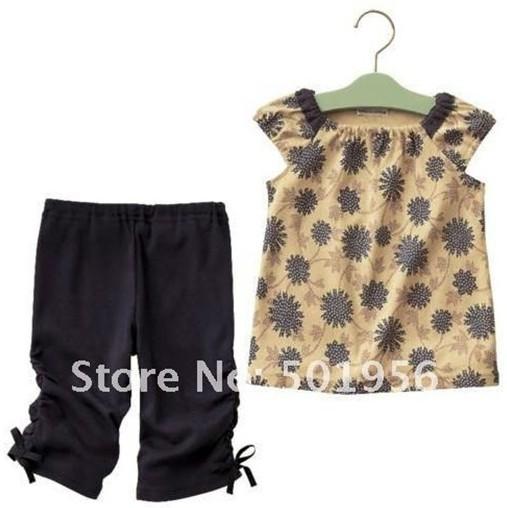 Retail Kids Clothing Set New Summer Children Girl Clothes Set T Shirt And shorts Pants Infant Garment(China (Mainland))