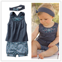 Blue baby suits/Baby kerchief+ sleeveless dress+ gingham plaid pant/ New arriver