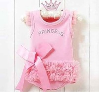 Baby girl princess lace romper one-piece pink color 6 pcs/lot free shipping